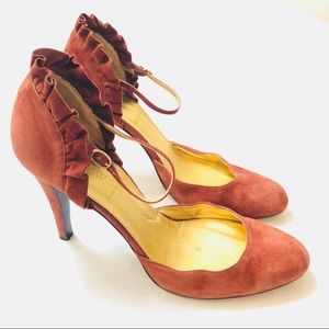 J CREW brown/copper suede Mary Jane heels 8.5 N